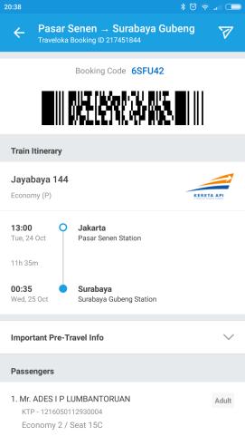 Tiket Kereta Jakarta - Surabaya